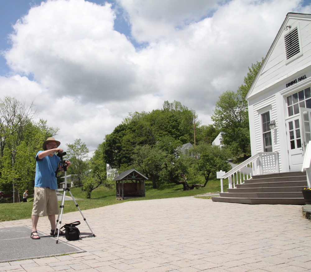 Mark Roessler '90 sets up for one of his panoramic images of campus, the subject of his new book The Marlboro College Years, available from Levellers Press. See Alumni Notes for details.
