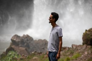 Dagmawi Iyasu '98 at the Blue Nile Falls, the source of the longest river in the world, in March 2020.